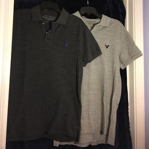 TWO like-new American Eagle polo shirts