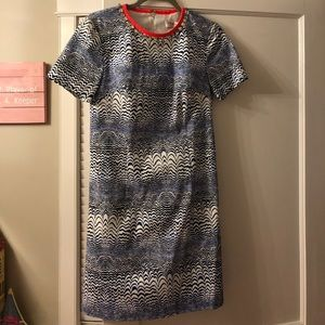 Trina Turk blue and white pattern dress