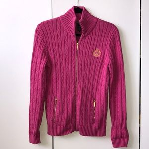 🎀 Ralph Lauren Pink Cable-Knit Zip-up Sweater! 🎀