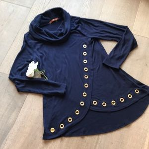 HP Twice!  Navy Cowl Neck Tunic w/Gold Grommets