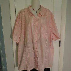 White Stag Coral & White Striped Shirt, 5X