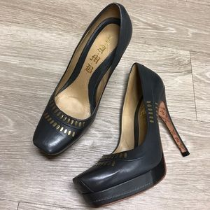 L.A.M.B dark gray leather heels