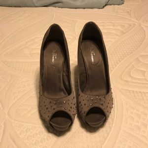 Gray and rhinestone heels - only worn once