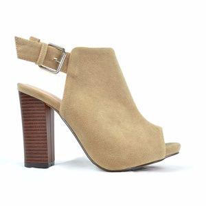 Women's Peep Toe Sling Back Nude Heeled Sandal