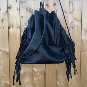 VS black faux leather fringed backpack purse NWT