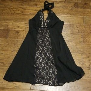 Black silk halter dress with lace inlay