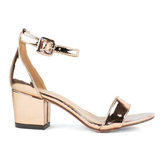 fb927ad98eac Women s Ankle Strap Low Heel Rose Gold Sandal