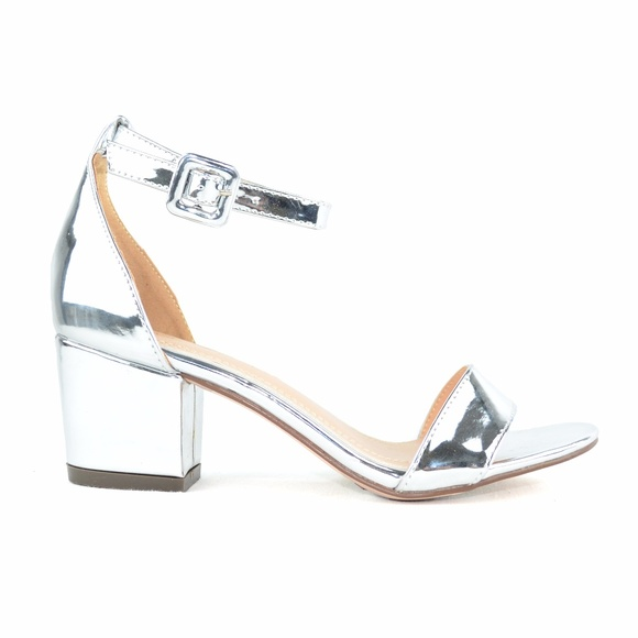 5fad11c2173 Women s Ankle Strap Low Heel Silver Sandal