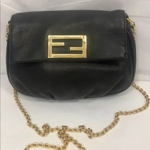 FENDI Black Leather Fendista Pochette Crossbody