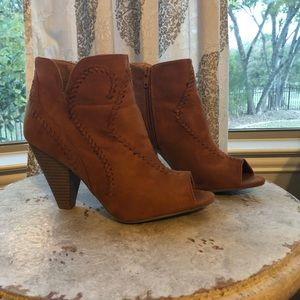 Brown Suede Bootie with Peep Toe