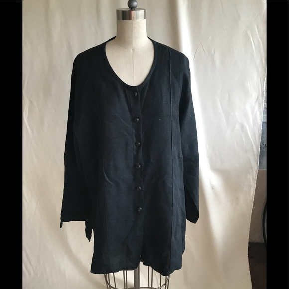 073fa613c9b flax Tops - FLAX Womens Small Black Linen Tunic Top Blouse
