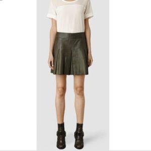 Allsiants Dawson Olive leather skirt