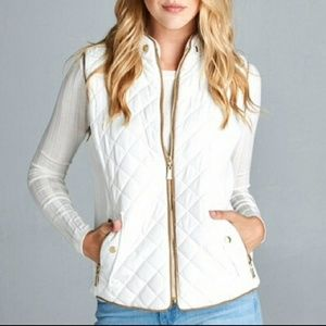 Beautiful ivory quilted vest with gold hardware
