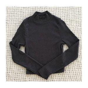 ASOS charcoal Long Sleeve Crop Top