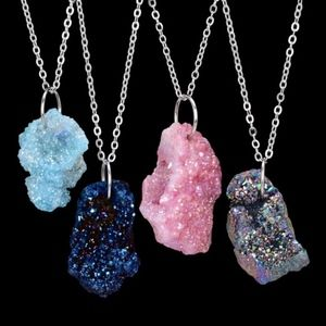Jewelry - Pink Druzy Crystal Natural Stone Pendant Necklace