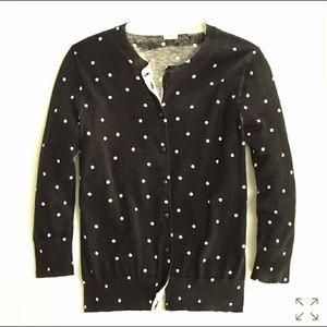 J Crew Factory Clare Cardigan black polka dot