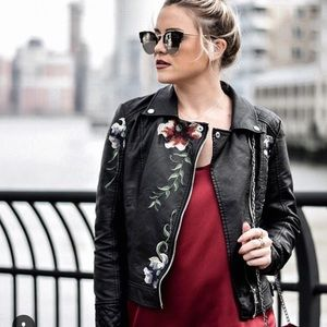 Jackets & Blazers - Embroidered Faux leather jacket