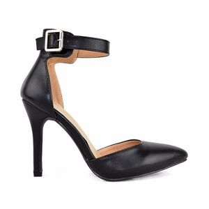 Women's Black D'orsay Pointed Toe Heeled Sandal