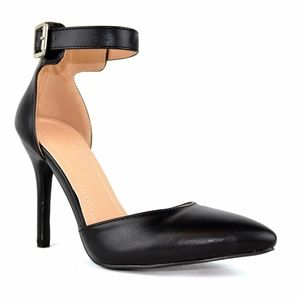 Chase & Chloe Shoes - Women's Black D'orsay Pointed Toe Heeled Sandal