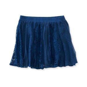Vertical Lace Overlay Mini Skirt