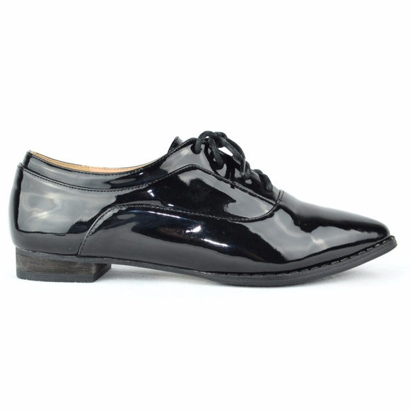 Pointy Toe Shiny Black Fashion Oxford