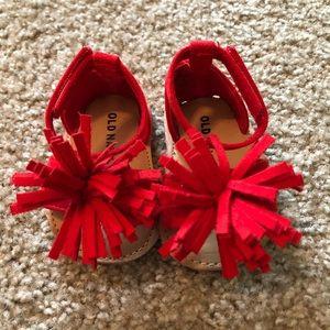 Red Pom Pom Sandals