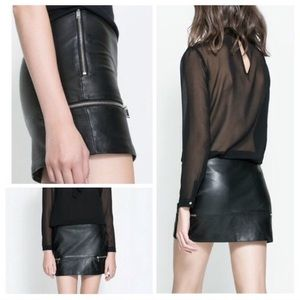 100% Authentic Leather Zara Mini Skirt