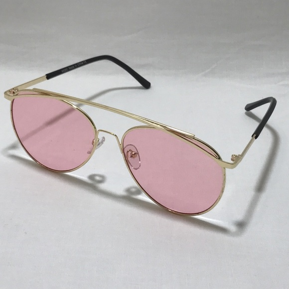 e9085cb63ed Pink Lens Unique Aviator Sunglasses