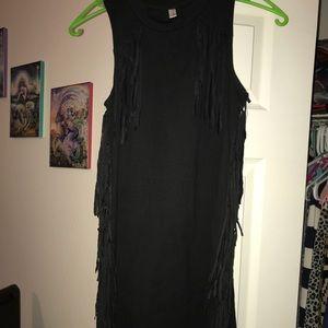 Black fray knee length dress