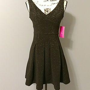 Betsey Johnson Black Metallic Fit & Flare Dress