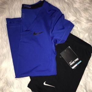 Nike Pro Blue V-Neck