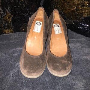 Lanvin wedge shoes suede velvet Brown