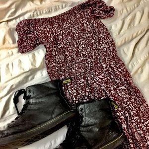 Off the shoulder ruched Floral picnic maxi dress