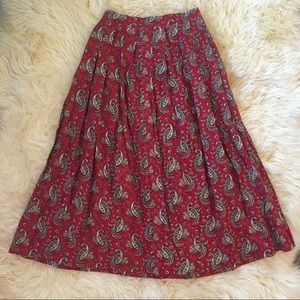 Vintage High Waisted Pleated Paisley Skirt