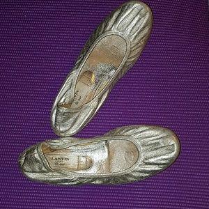 LANVIN silver ballet flats Size 8