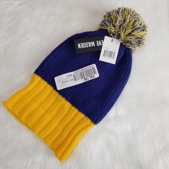 722b0f3b4a57e NWT Steve Madden Blue Yellow Beanie Hat One Size