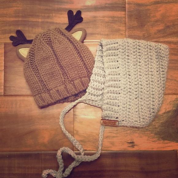 869e23ee134 Carter s Other - Handmade baby bonnet and Carters reindeer beanie