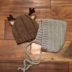 062e65a15d1 Carter s Accessories - Handmade baby bonnet and Carters reindeer beanie