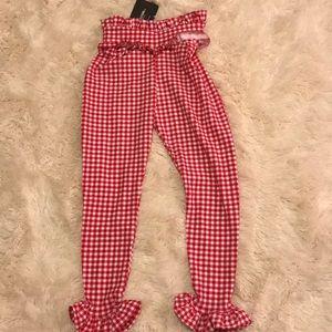 Pants - Gingham Red  Frill Capri Pant