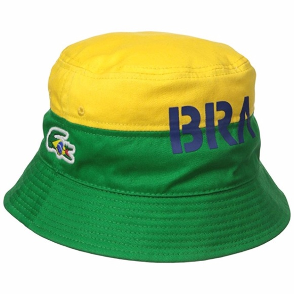 092ac9612ce Lacoste Brazil Supporter Flag Bucket Hat Cap New