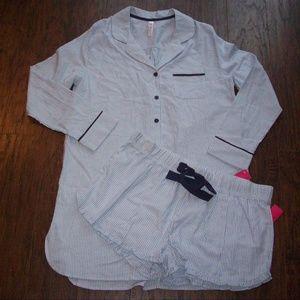 Blue Pinstripe Sleepshirt & Shorts