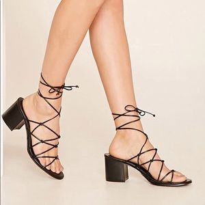 Lace up Black Sandals