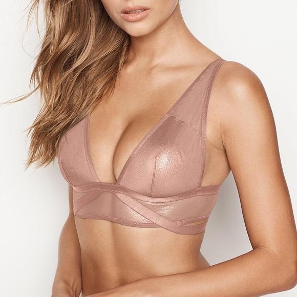 cf7d118c383 Victoria s Secret Mesh   Shine Foil Plunge Bra