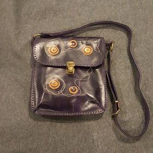 Dark purple leather crossbody