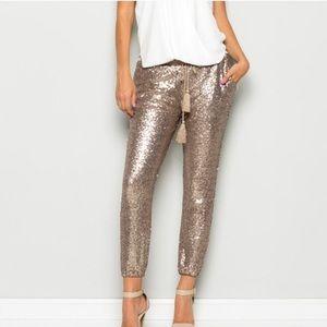 Rose Gold Sequin Jogger Pants