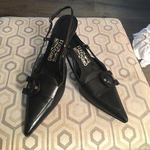 "Ferragamo sling back 2"" heels"