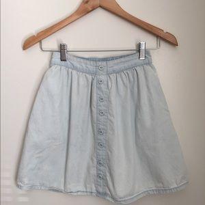 Denim button front high waist mini skirt
