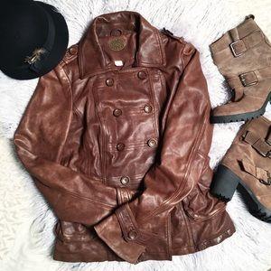 Genuine leather Anthropologie Jacket Brown sz M