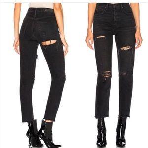 GRLFRND Karolina Black Butt Slit Jeans