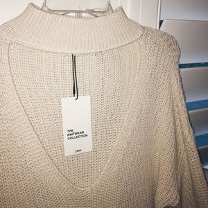 Zara Knit Collection Cream Sweater 🍂